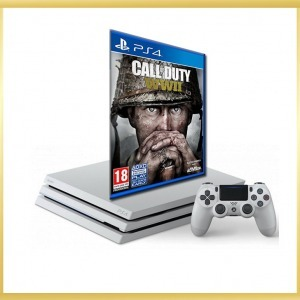Playstation 4 Pro 1TB, Glacier White konzol + PS4 Call of Duty: WWII