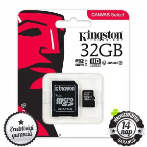 32GB KINGSTON microSDHC+SD ADAPTER CLASS 10 UHS-I 1 80MB/s