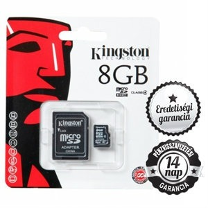 8GB KINGSTON microSDHC+SD ADAPTER Class 4