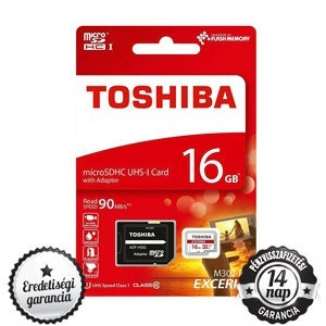 16GB Toshiba microSDHC+SD ADAPTER CLASS 10 UHS-I 1 90MB/s