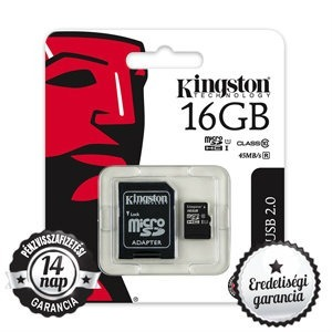 16GB KINGSTON microSDHC+SD ADAPTER CLASS 10 UHS-I 1 45MB/s