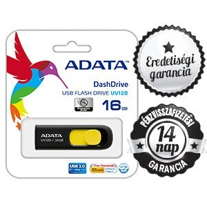 NO 16GB ADATA UV 128 USB 3.0/2.0 PENDRIVE YELLOW