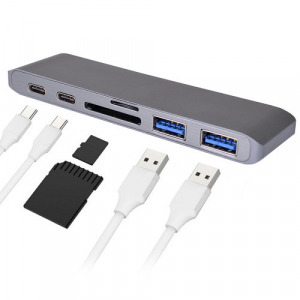 USB elosztó HUB MacBook-hoz, Type-C, USB 3.0, SD, Micro SD, TF