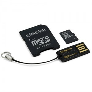 32GB KINGSTON microSDHC+SD ADAPTER+USB OLVASÓ CLASS