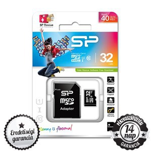 32GB Silicon Power microSDHC+SD ADAPTER CLASS 10 UHS-I 1 40MB/s